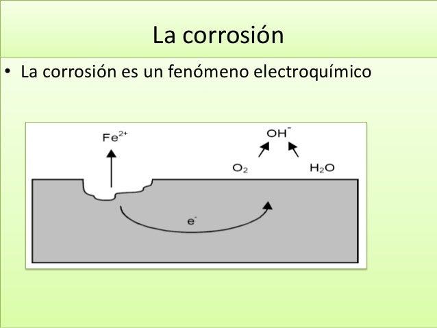 La corrosión • La corrosión es un fenómeno electroquímico