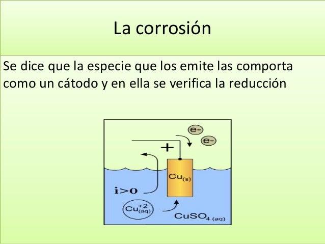 La corrosión Se dice que la especie que los emite las comporta como un cátodo y en ella se verifica la reducción