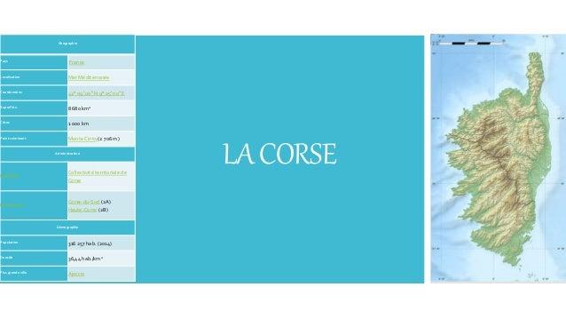LACORSE Géographie Pays France Localisation Mer Méditerranée Coordonnées 42° 09′ 00″ N 9° 05′ 00″ E Superficie 8 680 km2 C...