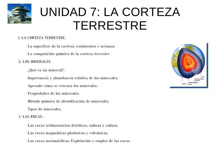 UNIDAD 7: LA CORTEZA TERRESTRE <ul>1.-LA CORTEZA TERRESTRE. <ul><li>La superficie de la corteza: continentes y océanos.