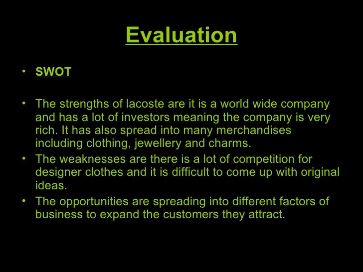 Lacoste SWOT Analysis, Competitors & USP