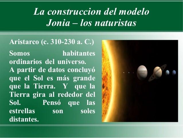 La construccion del modelo           Jonia – los naturistasAristarco (c. 310-230 a. C.)Somos            habitantesordinari...