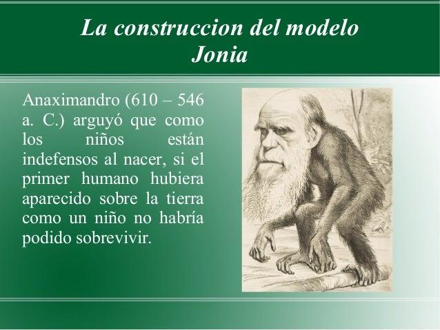 La construccion del modelo                  JoniaAnaximandro (610 – 546a. C.) arguyó que comolos      niños      estáninde...
