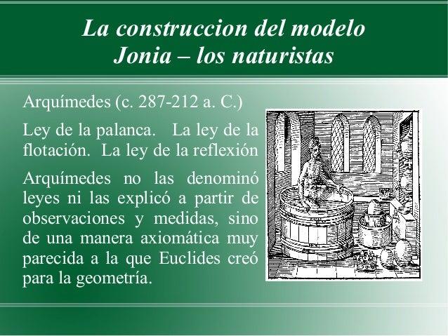 La construccion del modelo           Jonia – los naturistasArquímedes (c. 287-212 a. C.)Ley de la palanca. La ley de laflo...