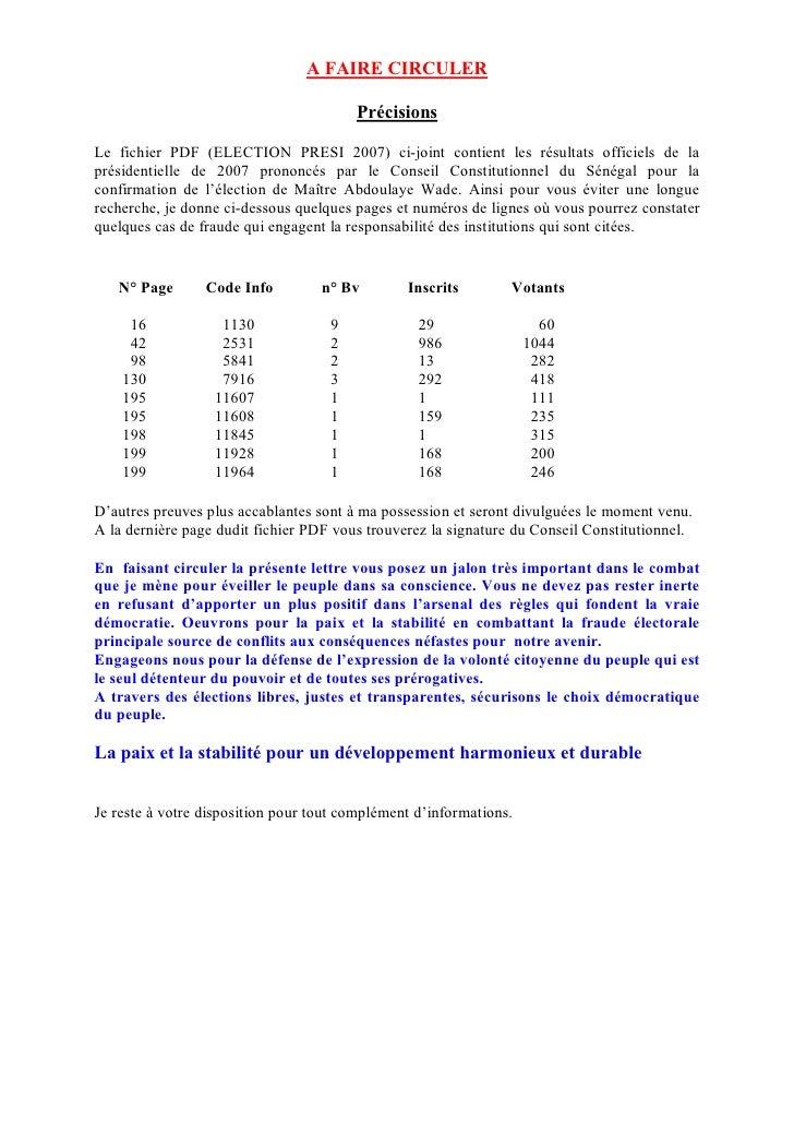 A FAIRE CIRCULER                                          Précisions  Le fichier PDF (ELECTION PRESI 2007) ci-joint contie...