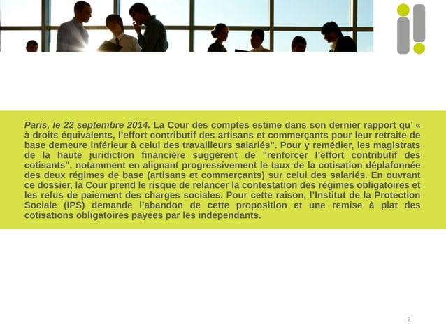 Paris, le 22 septembre 2014. La Cour des comptes estime dans son dernier rapport qu' «  à droits équivalents, l'effort con...