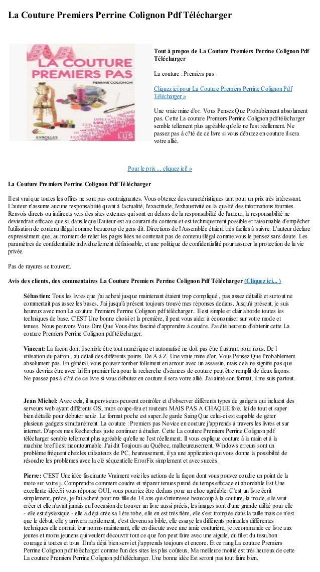 La Couture Premiers Perrine Colignon Pdf TéléchargerPour le prix ... cliquez ici! »La Couture Premiers Perrine Colignon Pd...