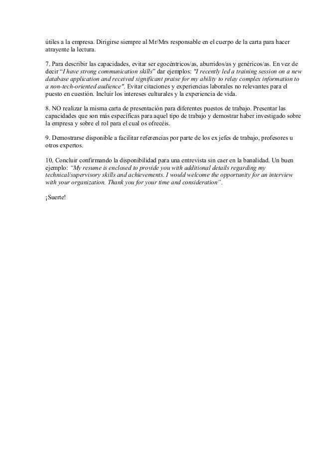 La Cover Letter O Carta De Presentación