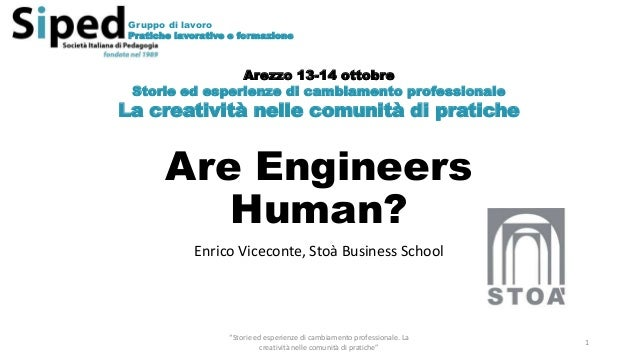 """Are Engineers Human? Enrico Viceconte, Stoà Business School """"Storie ed esperienze di cambiamento professionale. La creativ..."""