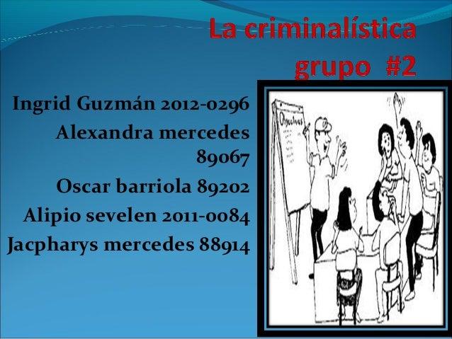 Ingrid Guzmán 2012-0296 Alexandra mercedes 89067 Oscar barriola 89202 Alipio sevelen 2011-0084 Jacpharys mercedes 88914