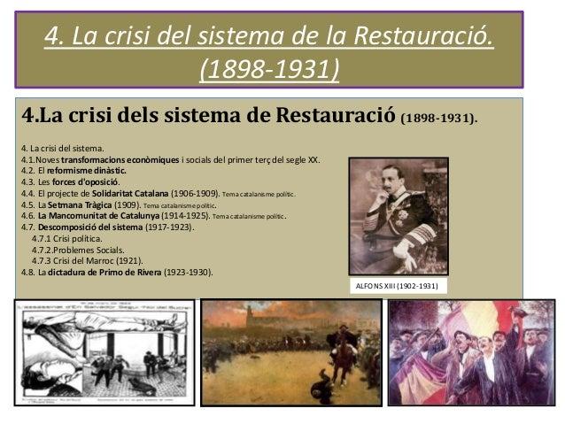 4. La crisi del sistema de la Restauració. (1898-1931) 4.La crisi dels sistema de Restauració (1898-1931). 4. La crisi del...