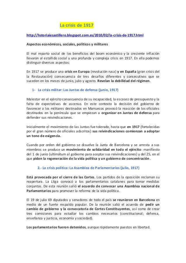 La crisis de 1917 http://hstoriaiesastillero.blogspot.com.es/2010/02/la-crisis-de-1917.html Aspectos económicos, sociales,...