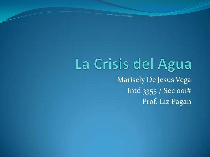 La Crisis del Agua<br />Marisely De Jesus Vega<br />Intd 3355 / Sec 001#<br />Prof. Liz Pagan<br />