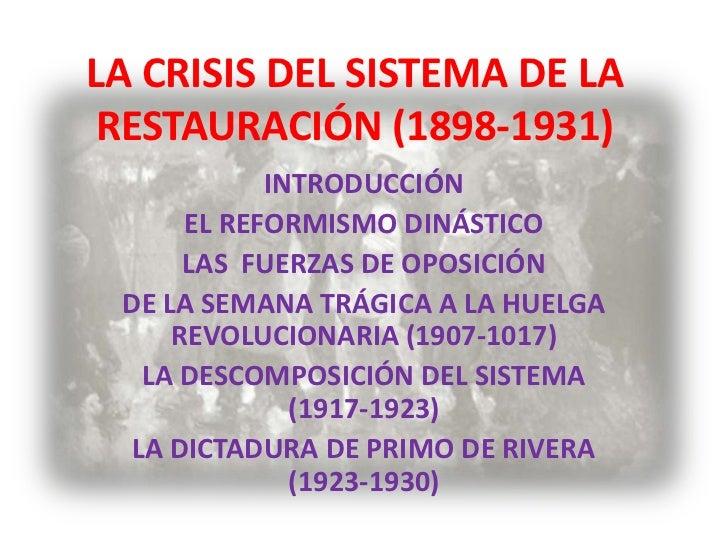 LA CRISIS DEL SISTEMA DE LA RESTAURACIÓN (1898-1931)            INTRODUCCIÓN      EL REFORMISMO DINÁSTICO      LAS FUERZAS...