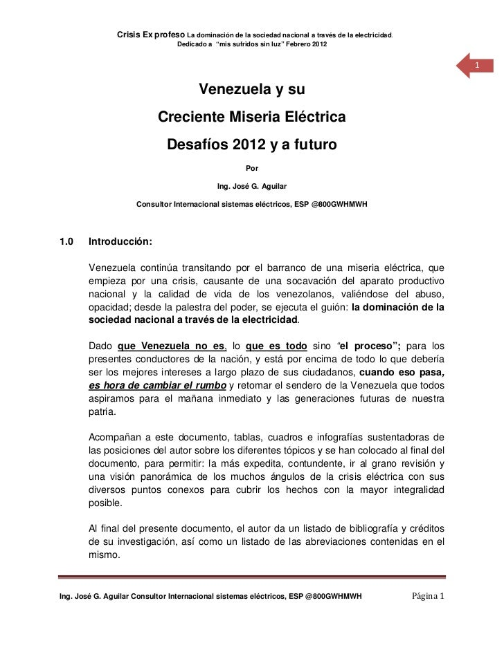 Crisis Ex profeso La dominación de la sociedad nacional a través de la electricidad.                                 Dedic...