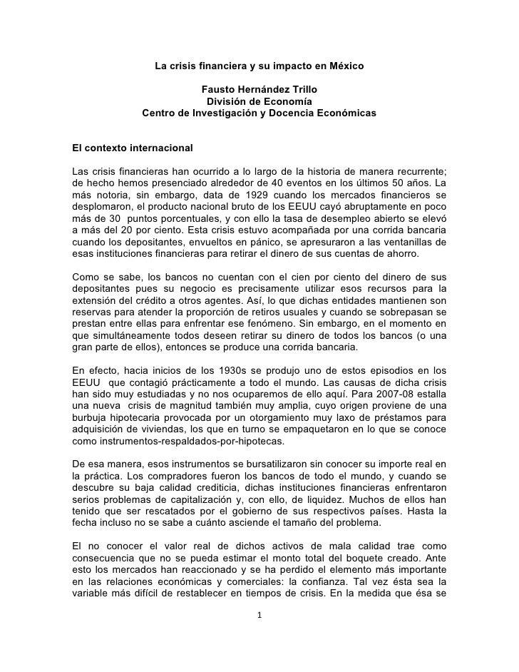 La crisis financiera y su impacto en México                           Fausto Hernández Trillo                            D...