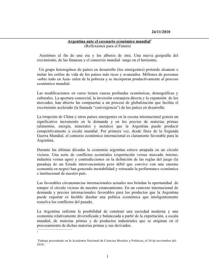 24/11/2010                     Argentina ante el escenario económico mundial1                              (Reflexiones pa...