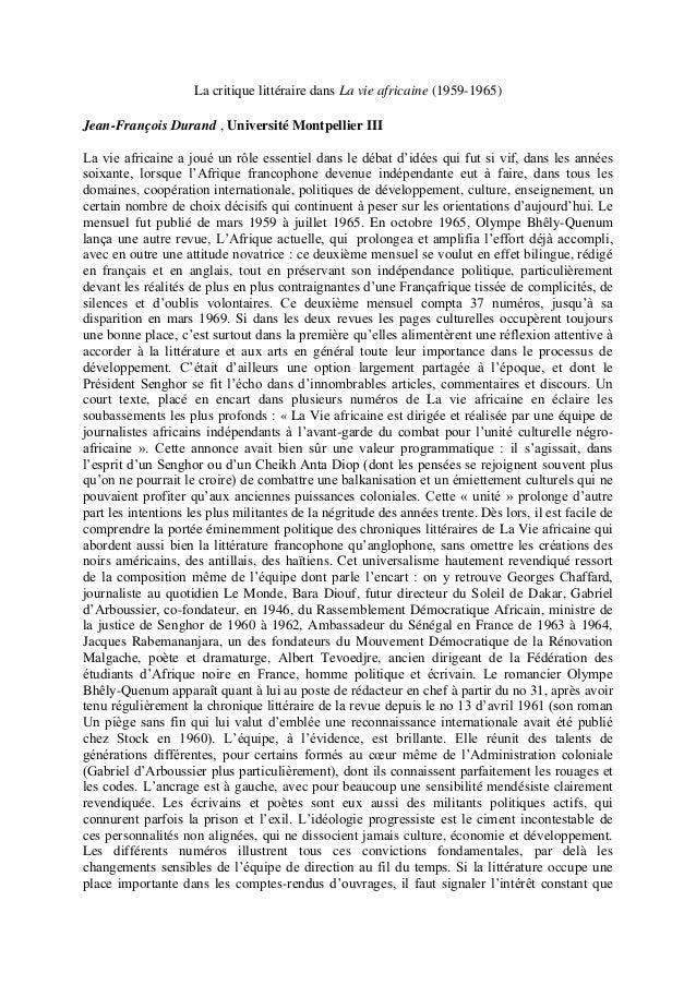 La critique littéraire dans La vie africaine (1959-1965) Jean-François Durand , Université Montpellier III La vie africain...
