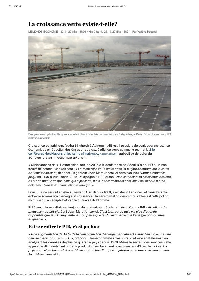 23/11/2015 La croissance verte existe-t-elle? http://abonnes.lemonde.fr/economie/article/2015/11/23/la-croissance-v...