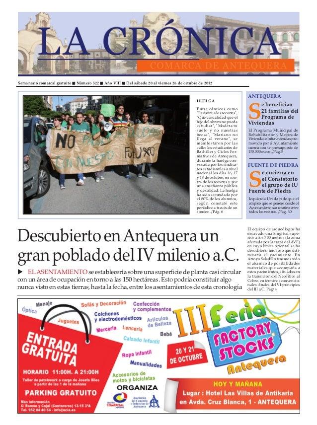 Semanario comarcal gratuito   Número 522   Año VIII   Del sábado 20 al viernes 26 de octubre de 2012                      ...