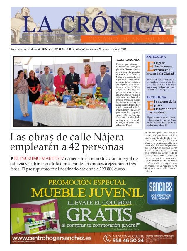 Semanario comarcal gratuito Número 565 Año X Del sábado 14 al viernes 20 de septiembre de 2013 E llegado Tembouryse expone...