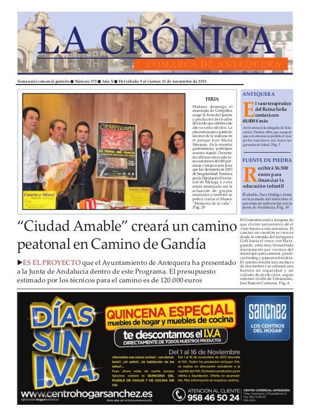 Semanario comarcal gratuito  Número 573  Año X  Del sábado 9 al viernes 15 de noviembre de 2013  FERIA Mañana domingo el m...