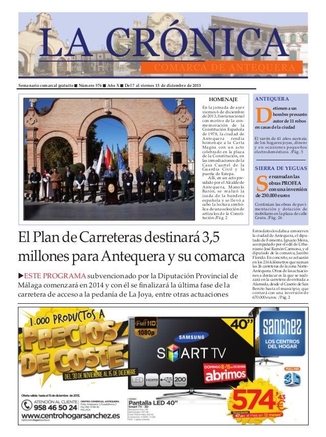 Semanario comarcal gratuito  Número 576  Año X  Del 7 al viernes 13 de diciembre de 2013  HOMENAJE En la jornada de ayer v...