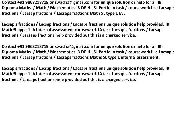 Lacsap's fractions ib math sl portfolio ib math sl ia+91