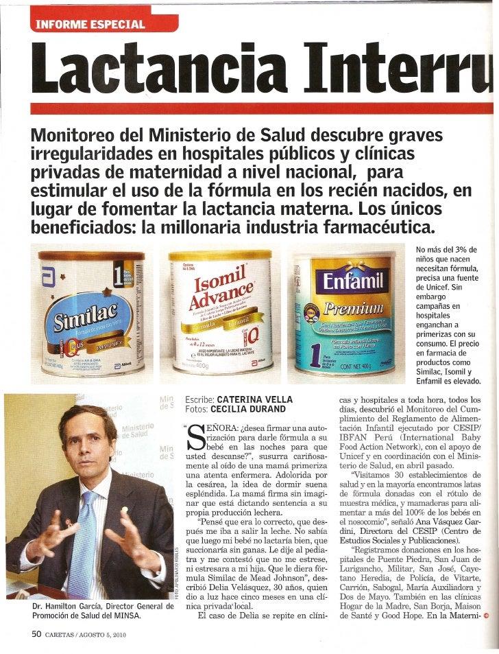 Lactancia InterrMonitoreo del Ministerio de Salud descubre gravesirregularidades en hospitales publicos y clfnicasprivadas...
