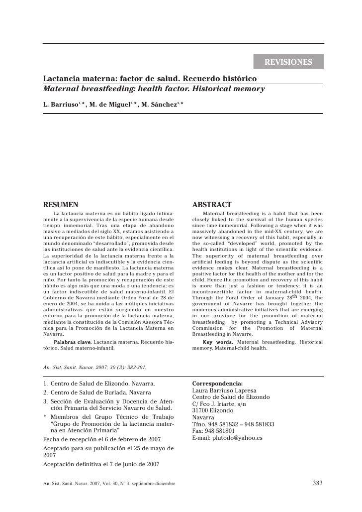 REVISIONES Lactancia materna: factor de salud. Recuerdo histórico Maternal breastfeeding: health factor. Historical memory...