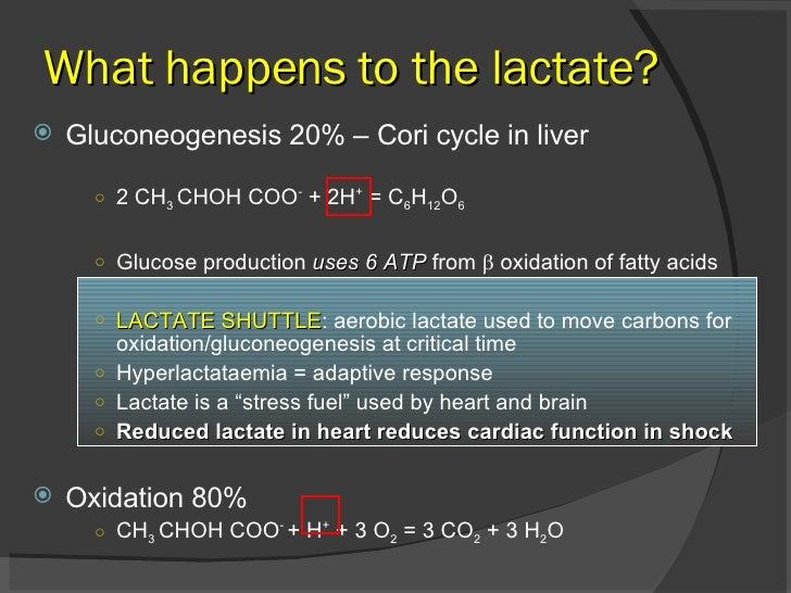What happens to the lactate? <ul><li>Gluconeogenesis 20% – Cori cycle in liver </li></ul><ul><ul><ul><li>2 CH 3  CHOH COO ...