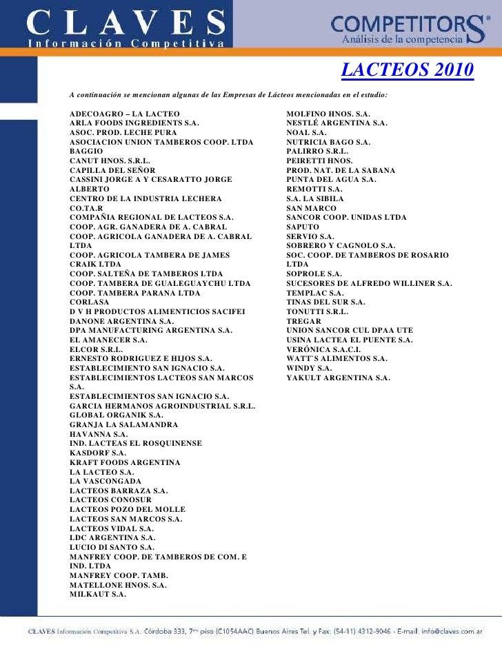 LACTEOS 2010 A continuación se mencionan algunas de las Empresas de Lácteos mencionadas en el estudio:  ADECOAGRO – LA LAC...