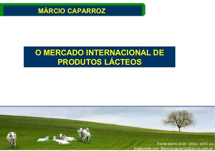 O MERCADO INTERNACIONAL DE PRODUTOS LÁCTEOS MÁRCIO CAPARROZ  MAPA,IBGE, USDA, MDIC etc