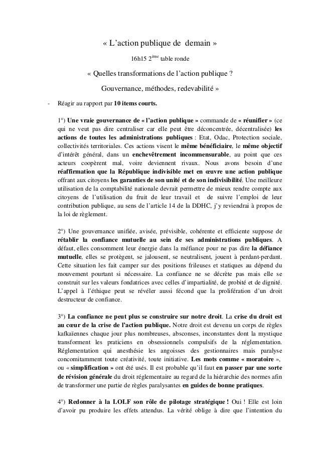 « L'action publique de demain » 16h15 2ème table ronde « Quelles transformations de l'action publique ? Gouvernance, métho...