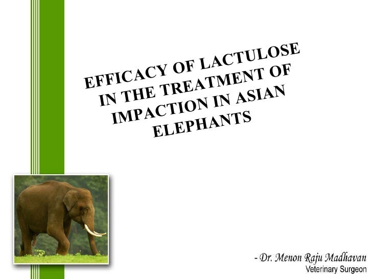 EFFICACY OF LACTULOSE IN THE TREATMENT OF IMPACTION IN ASIAN ELEPHANTS