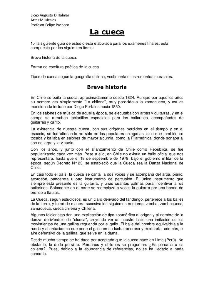 Liceo Augusto D´HalmarArtes MusicalesProfesor Felipe Pacheco                                 La cueca1.- la siguiente guía...