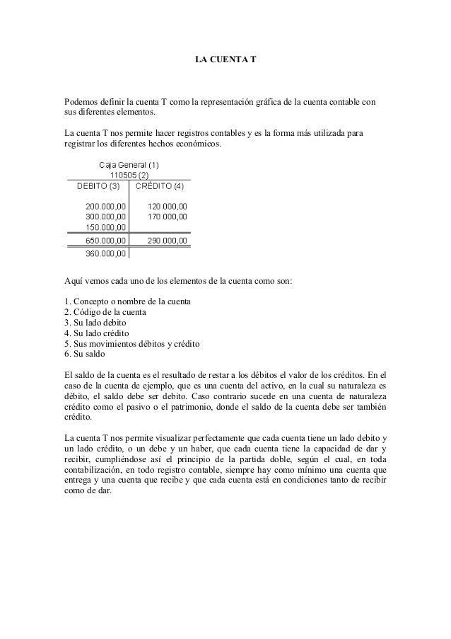 LA CUENTA TPodemos definir la cuenta T como la representación gráfica de la cuenta contable consus diferentes elementos.La...