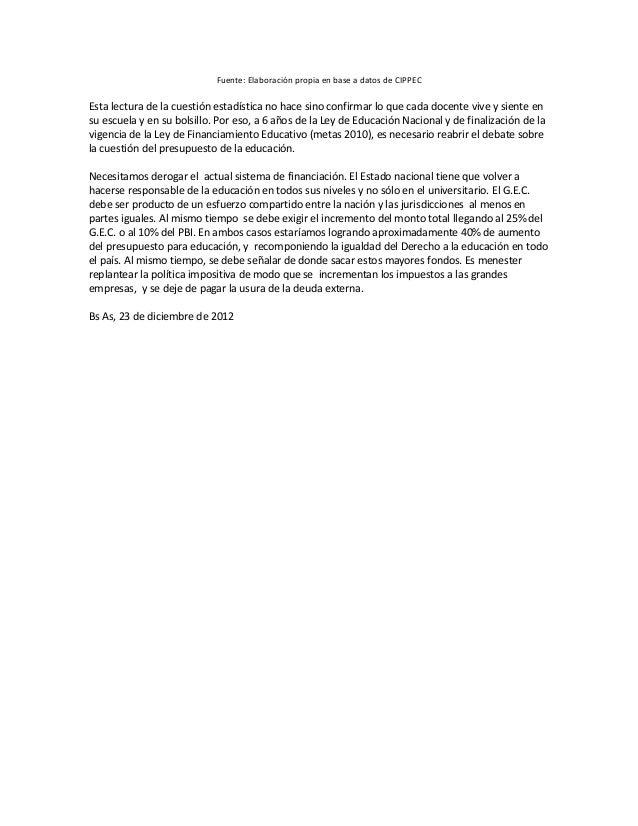 Fuente: Elaboración propia en base a datos de CIPPECEsta lectura de la cuestión estadística no hace sino confirmar lo que ...