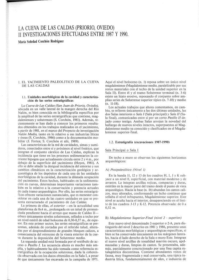 LA CUEVA DE LAS CALDAS (PRIORIO,  OVIEDO) Il INVESTIGACIONES EFECTUADAS ENTRE 1987 Y 1990.  María Soledad Corchón Rodrígue...