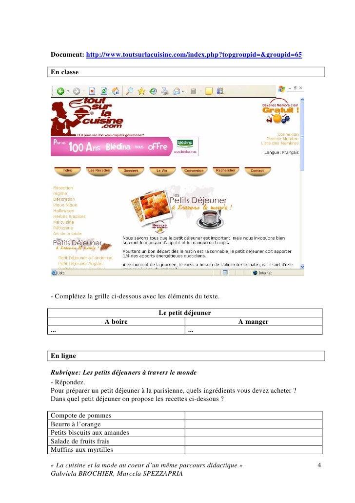 La cuisine et la mode au coeur d'un même parcours didactique; annexe (exemples d'activités de classe)