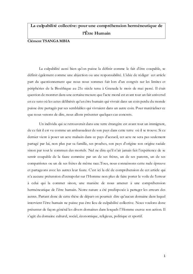 1 La culpabilité collective: pour une compréhension herméneutique de l'Être Humain Clément TSANGA MBIA La culpabilité auss...