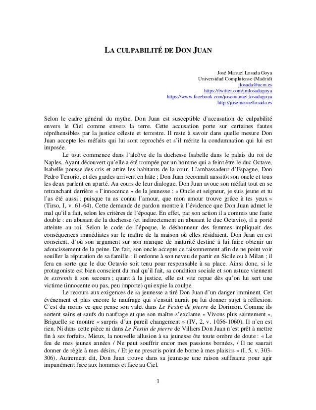 LA CULPABILITÉ DE DON JUAN José Manuel Losada Goya Universidad Complutense (Madrid) jlosada@ucm.es https://twitter.com/jml...