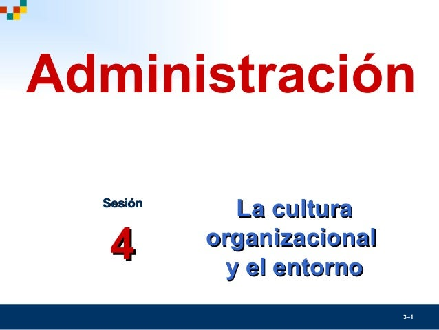 3–1La culturaLa culturaorganizacionalorganizacionaly el entornoy el entornoSesiónSesión44Administración