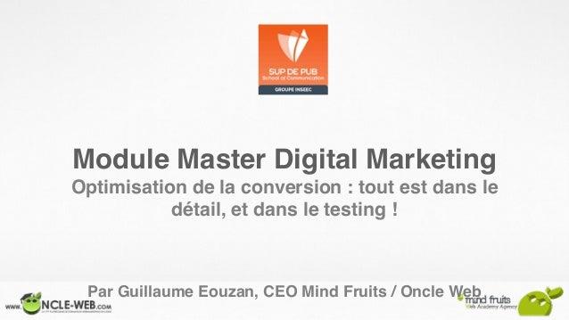 Module Master Digital Marketing Optimisation de la conversion : tout est dans le détail, et dans le testing ! Par Guillaum...