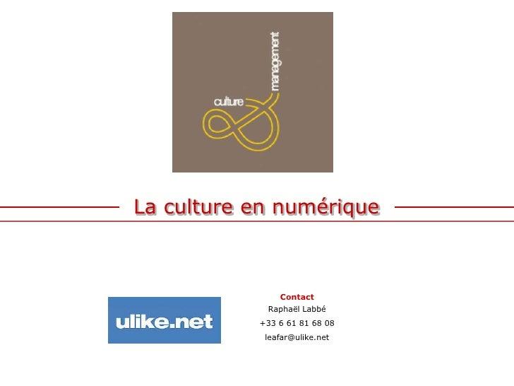 La culture en numérique<br />Contact<br />Raphaël Labbé<br />+33 6 61 81 68 08<br />leafar@ulike.net<br />
