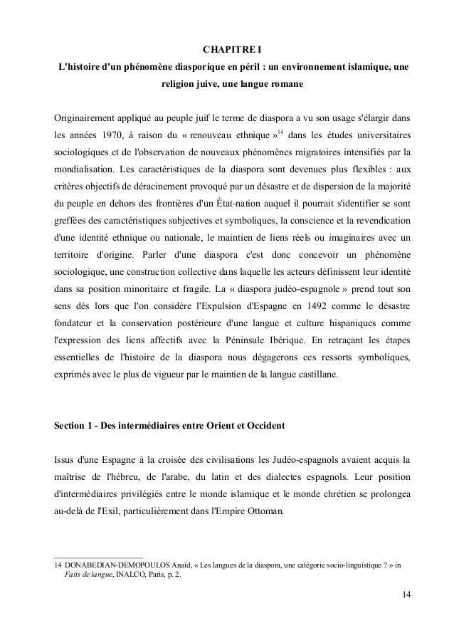 CHAPITRE I  L'histoire d'un phénomène diasporique en péril : un environnement islamique, une  religion juive, une langue r...