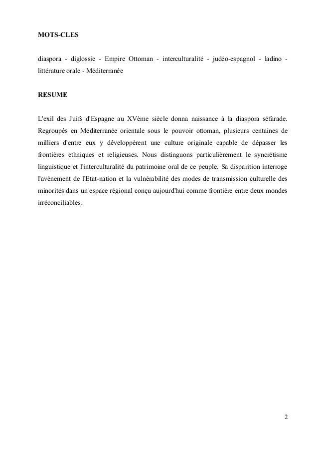 MOTS-CLES  diaspora - diglossie - Empire Ottoman - interculturalité - judéo-espagnol - ladino -  littérature orale - Médit...
