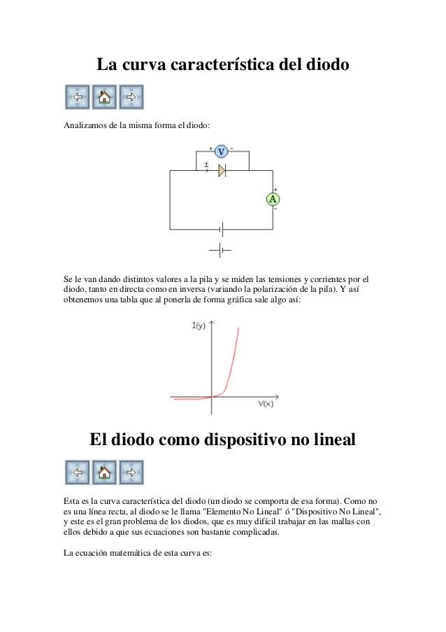 La curva característica del diodoAnalizamos de la misma forma el diodo:Se le van dando distintos valores a la pila y se mi...
