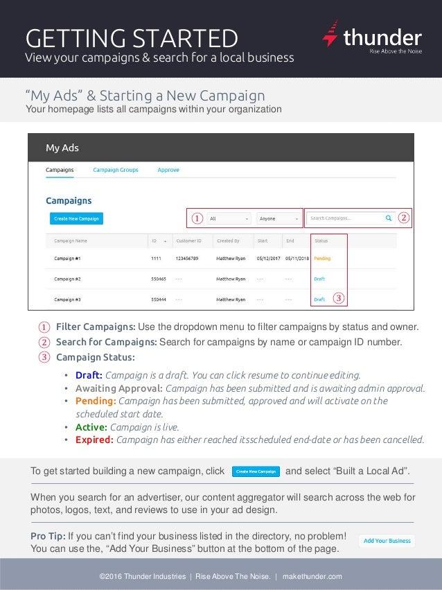thunder local ad creator user guide rh slideshare net zoho creator user guide create user guide template