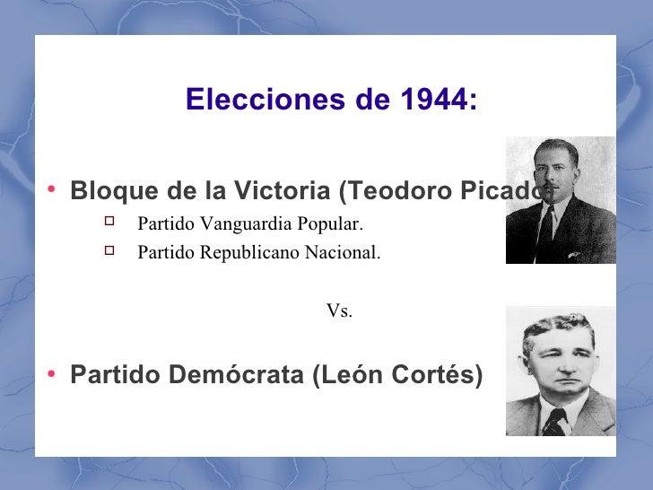Elecciones de 1944:●    Bloque de la Victoria (Teodoro Picado)         Partido Vanguardia Popular.         Partido Repub...